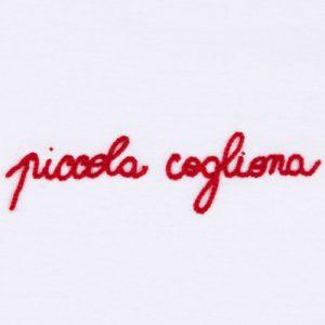 "T-shirt ricamata ""Piccola cogliona"" bianca (Unisex)"